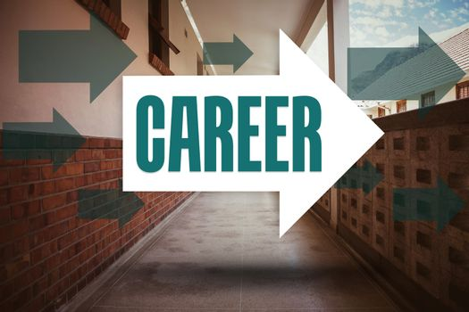 Career against empty hallway