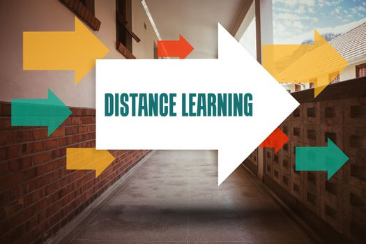 Distance learning against empty hallway
