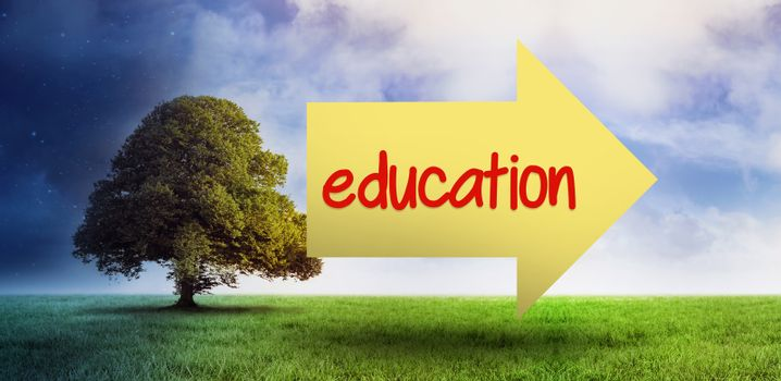 The word education and arrow against field of night and day