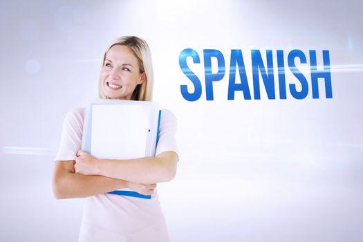 Spanish against grey background