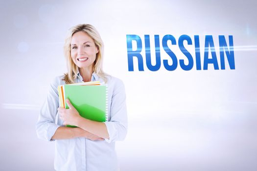 Russian against grey background