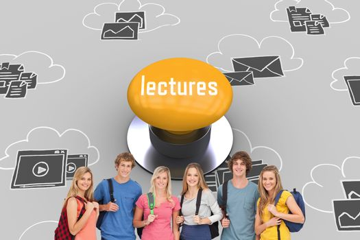 The word lectures and smiling group with backpacks on as they smile against yellow push button