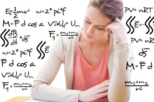 Composite image of student studying