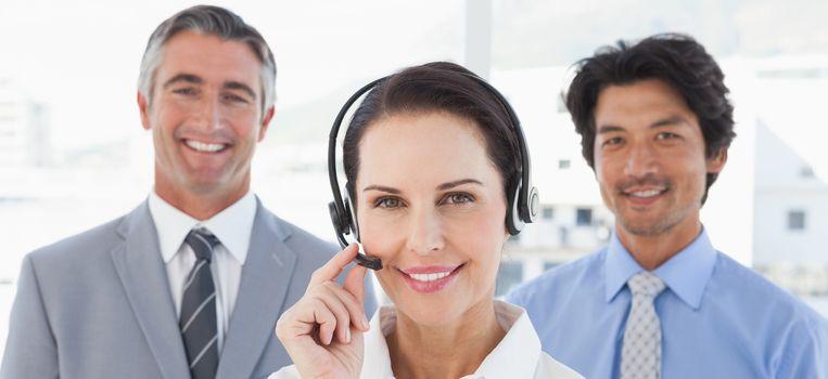 Businesswoman wearing her headset