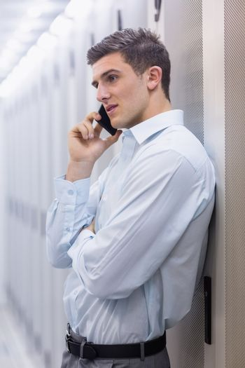 Young technician on the phone
