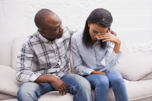 Upset woman with her therapist
