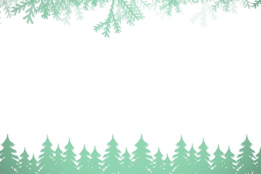Frost and fir trees in green