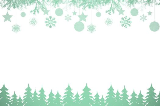 Snowflakes and fir trees in green