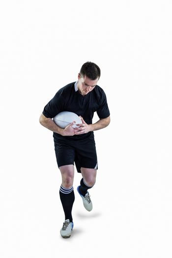 Rugby player running with the rugby ball