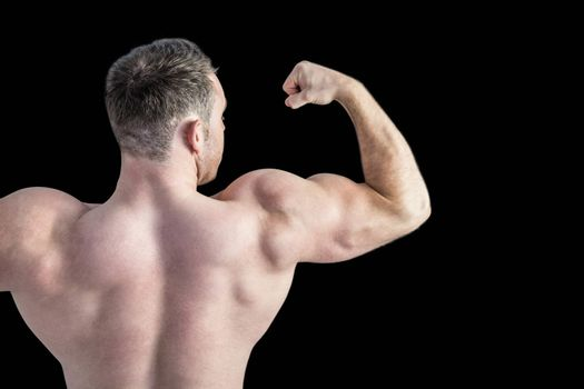 Strong bodybuilder with arms up