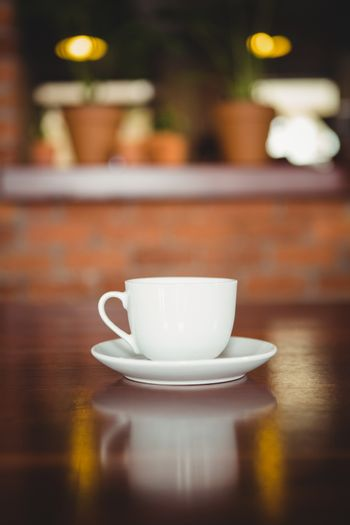 Cup and saucer on the counter