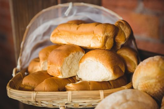 Close up view of basket with fresh bread