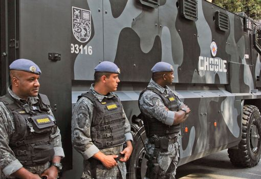 SAO PAULO, BRAZIL August 16 2015: An unidentified group of cops take care of security in the protest against federal government corruption in Sao Paulo Brazil.