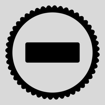 Minus flat black color round stamp icon