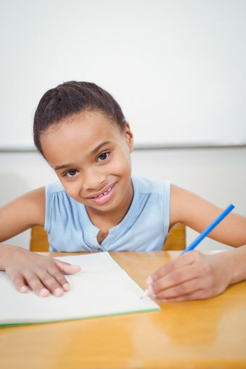 Pupil writing into a notebook