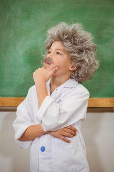 Student dressed up as einstein