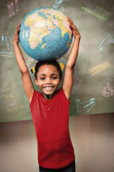 Education doodles against little girl holding globe over head