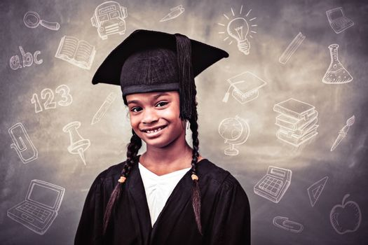 Education doodles against little girl wearing graduation robe