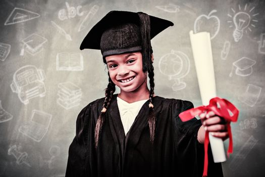 Education doodles against little girl in graduation robe holding diploma