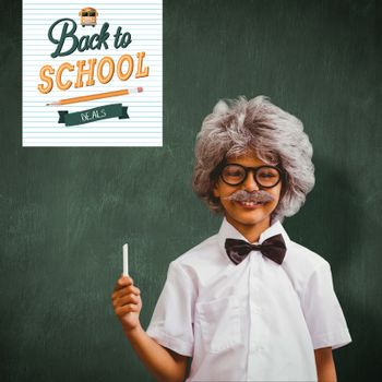 Pupil dressed up in wig against green chalkboard
