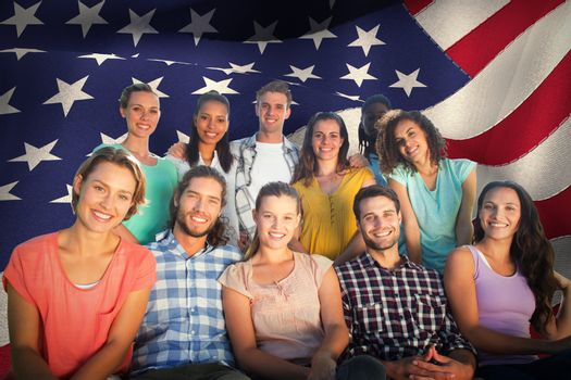 Composite image of friends smiling at camera