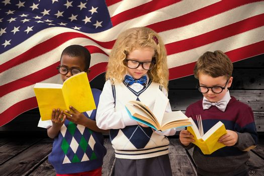 School kids against composite image of digitally generated united states national flag