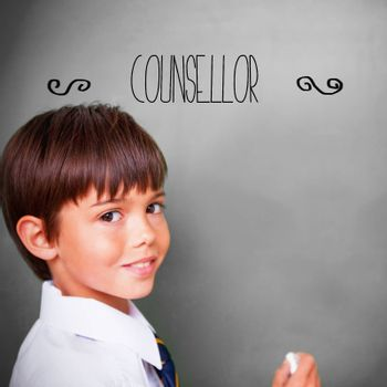 The word counsellor against cute pupil with chalkboard