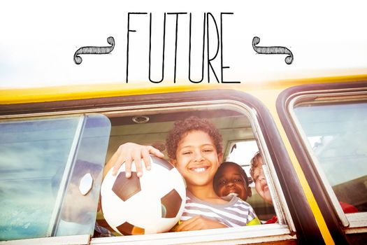 The word future against cute pupils smiling at camera in the school bus