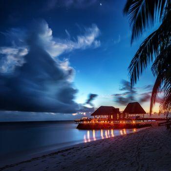 Paradise beach at night
