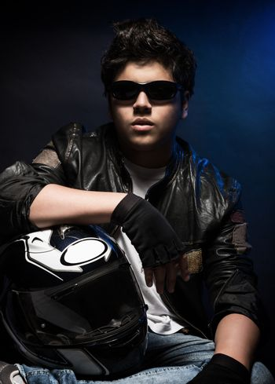 Stylish young biker