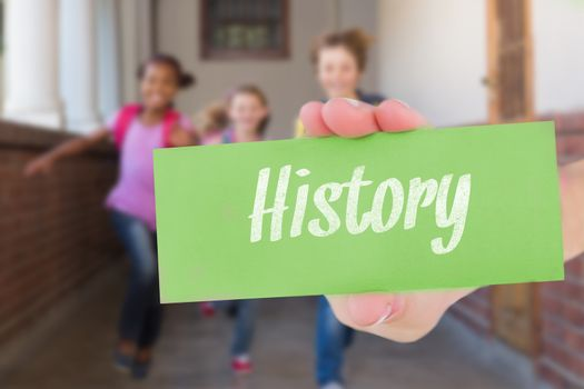 History against cute pupils running down the hall