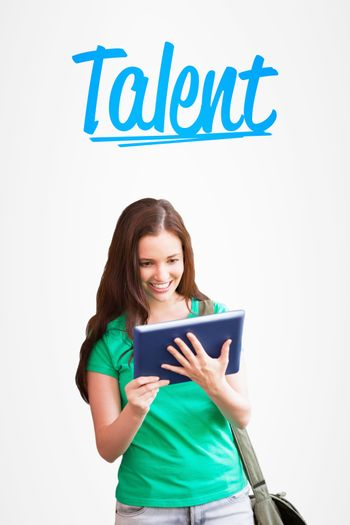 Talent against white background with vignette