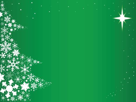 Green background with snowflakes in the form of a Christmas Tree.
