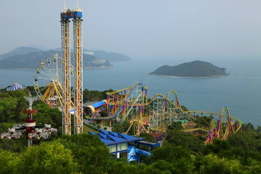 Hong Kong - March 30, 2012: The beach side roller coaster in Ocean Park Hong Kong. Very Famous for it's beautiful view of the ocean