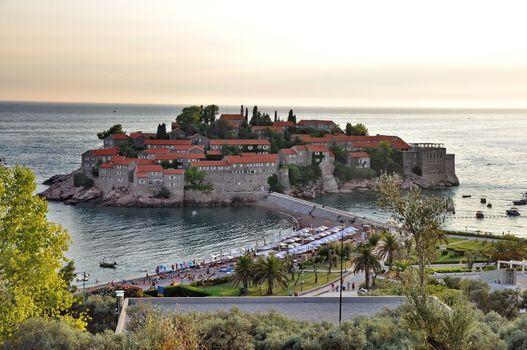 Old town of Sveti Stefan in Montenegro