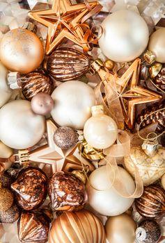 Christmas tree ornaments in bronze tones