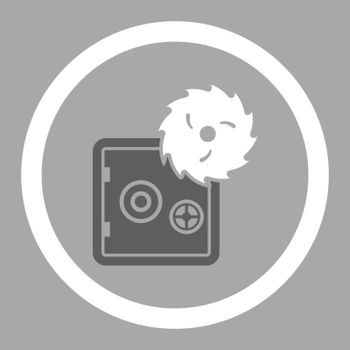 Hacking theft flat dark gray and white colors rounded vector icon