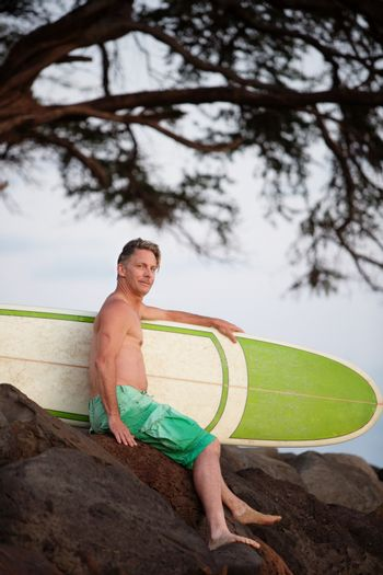 Person with His Surfboard