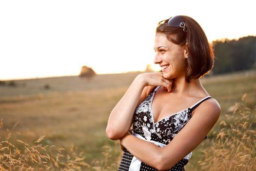 Carefree woman smiling