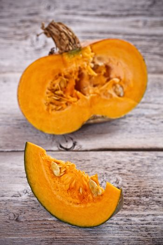 Sliced and half pumpkins