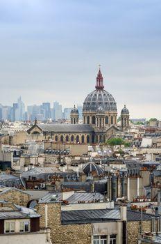 Saint-Augustin Church with La Defense in The Background, Paris