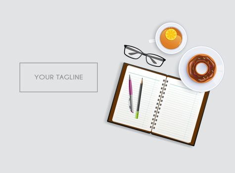 Vector illustration of Scene with notebook and tea