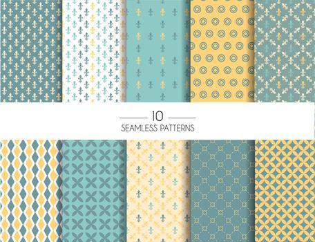Vector illustration of Set of geometric seamless patterns