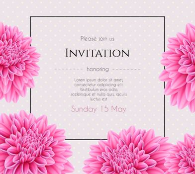 Vector illustration of Wedding invitation with beautiful aster flower