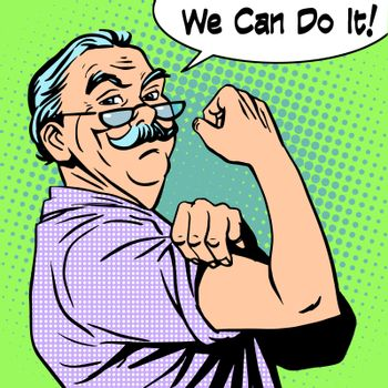 Grandpa old man gesture strength we can do it