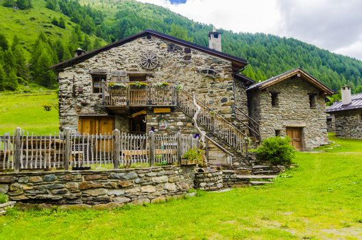 Stone houses. Traditional alpine village in the mountains