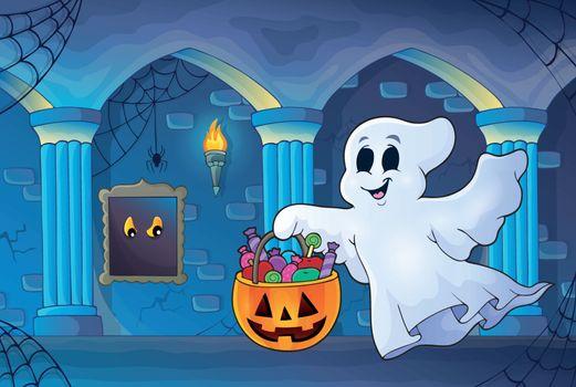 Halloween ghost in haunted castle