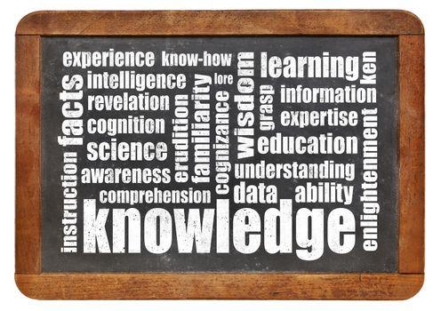 knowledge word cloud on an isolated vintage slate blackboard