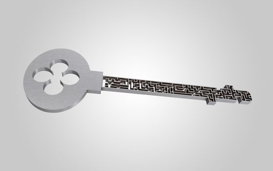 The key is a maze, on a gray gradient background.