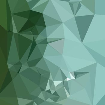 Low polygon style illustration of a zomp green abstract geometric background.